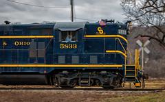 For Progress (Wheelnrail) Tags: co chesapeake ohio railroad rail road hocking valley scenic railway santa express train trains emd for progress high hood locomotive american flag logo blue southeastern oh haydenville nelsonville gp9