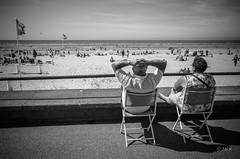 (Jack_from_Paris) Tags: l2000348bw leica m type 240 10770 leicasummicronm35mmf2asph 11879 dng mode lightroom capture nx2 rangefinder tlmtrique bw noiretblanc monochrom wide angle le touquet plage sea soleil sun vent wind bain de chaises regards
