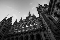 - Town Hall Look UP - (Mr. LookUP) Tags: blackandwithe blackwhite hamburg germany deutschland townhall unique lookup processing 2016 architecture architektur