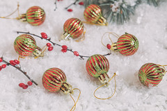 Christmas and New Year balls on light background (victoria.kondysenko) Tags: christmas ball holiday snow ornaments decoration xmas bokeh season decorate fun white jolly new bright celebrate festive celebration light traditional sphere round decorative shiny winter merry december bauble happy year card red green gold fir branch