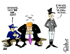 1116 officiating cartoon (DSL art and photos) Tags: editorialcartoon donlee universityofmichigan ohiostate football thegame officiating donaldtrump harbaugh coach complaint tweet election unclesam referee fraud vote