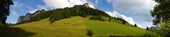 The hills are alive - Bernex, France (Crazyideas95) Tags: panorama alps france bernex pasture parachute paraglider wings free hike meadow alpine fence clouds fine weather twotone green blue vert bleu deux couleurs tresbeau