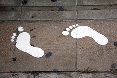 Follow my steps... even if I miss a toe! (Pensive glance) Tags: step pas trottoir pavement