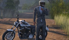 Mean Business (Broderick Logan) Tags: gentleman suit motorcycle sportster deadwool secondlife second life sl avatar virtual photography business