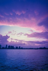 Magenta Blue Sky Drama Over the Hudson River (Raphe Evanoff) Tags: nyc sunset summer sky film skyline night canon river twilight outdoor manhattan shore hudson
