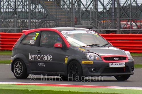 Cameron Pugh in the BRSCC Fiesta Junior Championship at Silverstone, August 2015