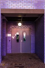 What's behind the door? (red snapper 205) Tags: door pink light brick wall mystery tile purple path corridor mauve exit passage entry
