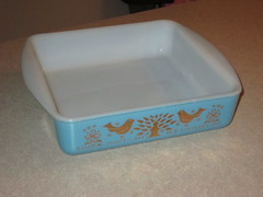 """Found this last week - a Sears exclusive made by Glasbake.  Cracked unfortunately, but thankfully doesn't affect the ability to display.  It says: """"Kissing don't last, but cookery do"""". (PhrugalPhan) Tags: sears maidofhonor glasbake"""
