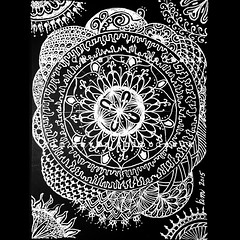 mendala and spheres (Kim Dever Thibodeaux / Kim_in_CajunCountry) Tags: blackandwhite art drawing doodle whiteonblack doodleart mendala zentangle zendoodle zendala