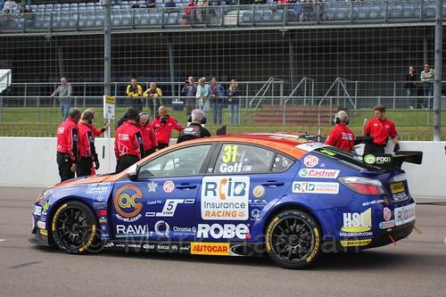 Jack Goff on the BTCC grid at Rockingham 2015