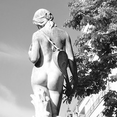 Nude (jacques_teller) Tags: brussels bw sculpture music woman art girl statue publicspace naked nude nikon belgium muse d3200