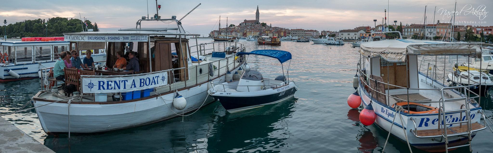 Little boat party at coastal town Rovinj, Croatia with Lumix GX7 4K
