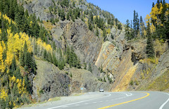 DSC7512 (prietke) Tags: road autumn trees mountains rock clouds truck landscape highway colorado unitedstates co skyway milliondollarhighway route550 sanjuanskyway ouraycounty