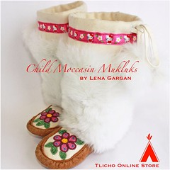 Child #moccasin #mukluks made by #Tlicho artisan Gargan from #Whati, NT on http://onlinestore.tlicho.ca (Tlicho Online Store) Tags: moccasin mukluks whati tlicho