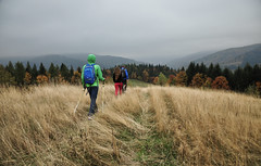 tramps (buymeabicycle) Tags: travel autumn people mountains grass europe poland tourists hiker tramps beskidwyspowy
