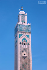 Hassan II Mosque (Raphalle Gagnon-Durand) Tags: world voyage africa city travel blue sky tower architecture coast minaret islam religion culture mosaics mosque atlantic arabic exotic morocco maroc arabe maghreb mosquee casablanca hassan tiling quran coran