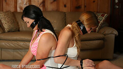 Britney & Cassandra Caught by Amateur Burglar (Fanta_Productions) Tags: bondage boundandgagged bondagetape tapegag damselsindistress ziptiebondage