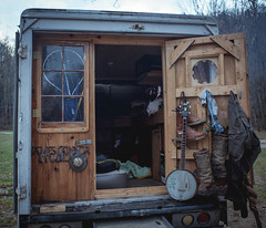 James Connor Studio / cabin on wheels. (gianteyephotography) Tags: camping red wild house home truck river fire sticks cabin woods kentucky smoke cook tiny gorge knives wilderness dreads camper
