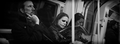 Daily Commute (A M A photography) Tags: street people white black london monochrome fuji zombie candid tube x pro1 xpro1
