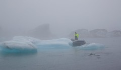 Jokulsaulon (JulyRiver) Tags: lake cold ice water rain fog boat iceland lagoon glacier jokulsarlon floatingice