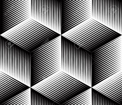 Black and white illusive abstract geometric seamless 3d pattern. Vector stylized infinite backdrop, best for graphic and web design. (Vladimir V.G.) Tags: wrapping surface pattern endless trendy art artistic geometric geometry abstraction covering creative modern style groovy detail vector seamless infinite stencil template tile design continuous repeating ornament ornate contemporary concept effect 3d dimensional illusion visualeffect monochrome black contrast splicing twine intertwine entwine splice striped lines graphical imaginative cube rhomb square