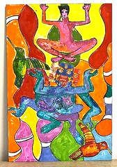 ode to bhutan-mahakala, the protecter (jenniferbeinhacker.com) Tags: jenniferbeinhackercom selftaught woman women man men pastel watersolublepastel folkart mixedmedia china tibet nepal bhutan burma india japan travel religiousgod diety text writing prayer praying birds contemporaryart modernart primitiveart buddha outsiderart visionaryart deviantart rawart artbrut naifart naiveart painting expressionism surrealism hands arms sharpieinkpen collage religion red yellow green blue orange pink faces backpacks artonwood purple art