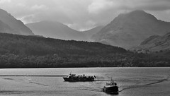 Arrochar Alps & Loch Lomond Ferries (brightondj - getting the most from a cheap compact) Tags: scotland trossachs lochlomond loch water mountains arrocharalps bw ferry boat waves