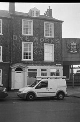 Dye works (bigalid) Tags: film 35mm revue 35fc haking ilford xp2 fixedfocus c41 bw carlisle september 2016 sign