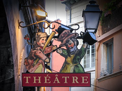 Theatre sign in Lyon old town (*Checco*) Tags: advert advertise advertisement advertising architecture banner billboard building cityscape colorful decoration district downtown entertainment entrance europe event france historic house illuminated illustration lamp landmark light lyon old retro scene show showing sign signboard street symbol theater theatre tourism town unesco vintage