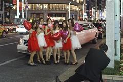 Billion Yen Ginza Girls () Tags: ginza tokyo girls woman posing red dress limousine street night evening sony a7 voigtlander 14 40mm classic