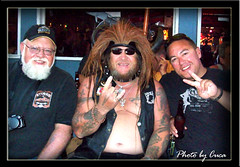 Aug 2009 - Myself, a friendly stranger and Gabe at the Spoke (lazy_photog) Tags: lazy photog elliott photography lazelle spearfish canyon sturgis motorcycle rally black hills classic races characters