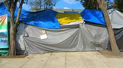 En el backstage (Robert Saucier) Tags: mexico mexicocity tente tent bleu blue gris grey jaune yellow pavement trottoir sidewalk plazadelarevolucion img9086