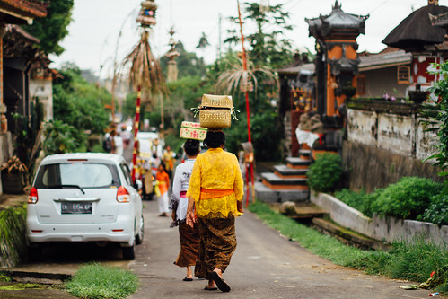 Women With Offerings Approaching Temple, Bali Indonesia