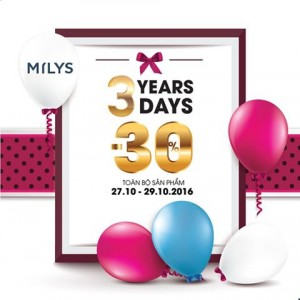 3 YEARS, 3 DAYS-SALE 30% OFF EVERYTHING
