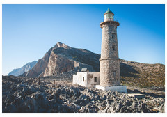 Southern Lighthouse, Antikythera |   -  -  (Patsnik) Tags: kythera island greece aegean ionian sea summer antikythera beach waves sky mountain outdoor borders sand rocks landscape   limni         photo border coast southern lighthouse |     shore rock seaside water ocean bluff ridge cliff