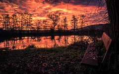 let us have a rest (Florian Grundstein) Tags: sunset sunrise clouds cloudporn morning sky cloudscape skyscape burningsky creek river water reflection cloud nikon d610 fx fullframe landscape naab nature trees silhouette