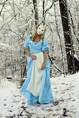 Winterland Malice (Kaitlyn June) Tags: whiterabbit aliceinwonderland winter snow nikon creepy weird malice wonderland alice masks photography