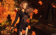 Fall Breeze (Aimee Snoodle) Tags: second life sl secondlife realevil industries real evil argrace vinyl maitreya catwa come soon poses pose fall leaves mesh body addicts event