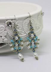 Sridevi Earrings (BeeJang - Piratchada) Tags: beadweaving beadwork beading pearl white swarovski miyuki earrings earring handmade jewelry pewter blue turquoise