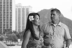 Waikiki Candid (Oliver Leveritt) Tags: nikond7100 afsvrzoomnikkor70300mmf4556gifed oliverleverittphotography candid hawaii waikiki waikikibeach couple people man woman diamondhead monochrome blackandwhite