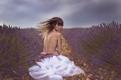 Hidden / Escondida (pasotraspaso. Jesus Solana Fine Art Photography) Tags: hidden escndida woman lady beauty nude lavender outdoor wind purple fineartphotography flowers sky clouds