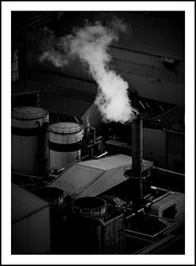 Factory (OlympiaM) Tags: chimney smoke bw factory
