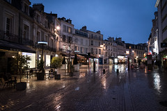 Poitiers in Azure (BB ON) Tags: france poitiers town rain ville cobblestone europe dusk light building outdoor street wet poitoucharentes nouvelleaquitaine road village