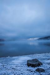 Eklutna Lake (spwasilla) Tags: lake water mountains fog chugach eklutna rock blue alaska canon can6d tamron2470mm ice hoarfrost frost