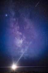 Beacon in The night (odinthomas) Tags: longexposure lighthouse night 35mm stars nikon astro galaxy meteor startrails milkyway fyret meteorshower perseid ovesen hikingegerøy