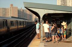 West 8th Street Station (dtanist) Tags: street new york city nyc newyorkcity ny newyork west film station brooklyn analog zeiss subway island aquarium kodak tracks contax carl mta g1 100 elevated coney 45mm 8th commuters qtrain planar northbound ektar carlzeiss