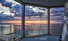 View from the Lighthouse (Lisa Saffell) Tags: sunset lighthouse lake water twilight michigan greatlakes lakesuperior crisppointlighthouse