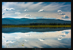 Fluffy Reflections (Ilan Shacham) Tags: blue sky usa lake reflection nature beauty alaska clouds america landscape outdoors mirror us view graphic fineart scenic simpsons beavercreek puffy fineartphotography tok scattered alaskahighway alaskanhighway kluane