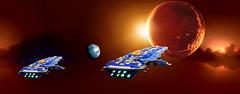 Defense of the Angel Moon (Rphilo004) Tags: 2 ship lego space spaceship homeworld fleet spacecraft moc microspace battlecruiser hiigaran shiptember