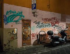Graffiti and Motorcycle (UrbanphotoZ) Tags: portrait italy night graffiti florence lions motorcycle firenze stickfigures antifa havok seka viadisantospirito theshakah
